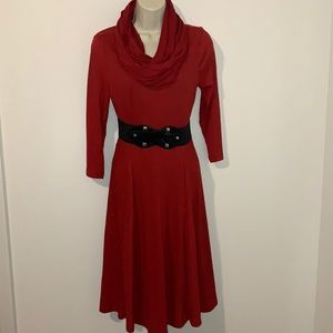 BETHANY Vintage Red Belted Scarf Midi Dress
